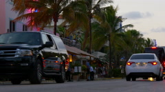 summer sunset miami south beach ocean drive traffic street 4k florida usa - stock footage