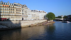 River Seine, Paris, France, Europe - stock footage