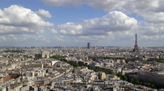 City, Arc de Triomphe and the Eiffel Tower, viewed over rooftops, Paris, France, - stock footage