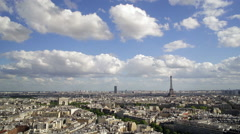 City, Arc de Triomphe and the Eiffel Tower, viewed over rooftops, Paris, France, Stock Footage