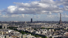 City, Arc de Triomphe and the Eiffel Tower, viewed over rooftops, Paris, France - stock footage