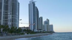 Miami hollywood sunny isles beach sunset pier panorama 4k florida usa Stock Footage