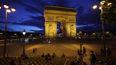 Place Charles de Gaulle and the Arc de Triomphe, Paris, France, Europe Stock Footage