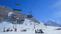 Travel Vacation Ski Resort France Alps Fun Recreation Extreme Sport Time Lapse - stock footage