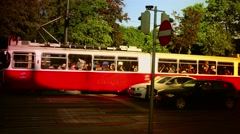 ULTRA HD 4K real time shot,The  Red tram at Ringstrasse ( Ring Road) in Vienna Stock Footage