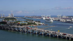 Stock Video Footage of Elevated view over the Mac Arthur Causeway and the Port of Miami