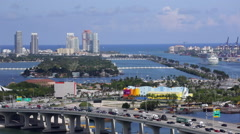 Elevated view over the Mac Arthur Causeway and the Port of Miami - stock footage