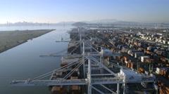 Aerial view Docks Oakland Port San Francisco USA Stock Footage