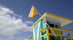 Art Deco style Lifeguard hut on South Beach, Ocean Drive, Miami Beach, USA Stock Footage