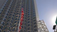 miami downtown summer day sun light american flag waving top 4k florida usa - stock footage