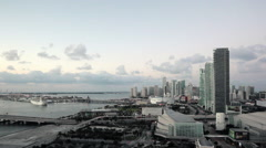 Elevated view over Biscayne Boulevard and the skyline of Miami, Florida, USA Stock Footage