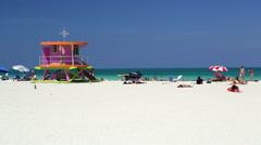 Art Deco style Lifeguard hut on South Beach, Ocean Drive, Miami Beach, USA - stock footage