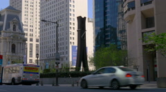 Philadelphia famous the clothespin sculpture day time 4k usa Stock Footage