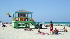 Stock Video Footage of Art Deco style Lifeguard hut on South Beach, Ocean Drive, Miami Beach, USA