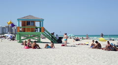 Art Deco style Lifeguard hut on South Beach, Ocean Drive, Miami Beach, USA - stock footage