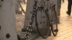 Bike parked in the city center of Krakow Stock Footage