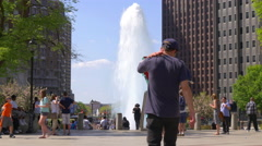 philadelphia summer day famous love park sculpture fountain 4k usa - stock footage