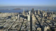 Aerial Downtown San Francisco Oakland Bay bridge USA Stock Footage