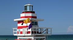 Art Deco style Lifeguard hut on South Beach, Ocean Drive, Miami Beach, Miami, - stock footage