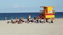 Art Deco style Lifeguard, South Beach, Ocean Drive, Miami Beach, Miami, USA - stock footage