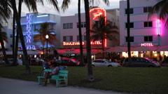 Art deco district, Ocean Drive, South Beach, Miami Beach, Miami, Florida, USA Stock Footage