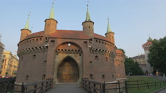 The entry gate to Krakow Barbican Stock Footage