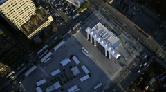 Aerial view of rooftop Skyscrapers Oakland Bay Bridge USA - stock footage