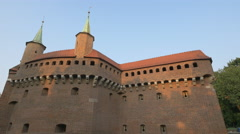 The beautiful fortified gateway of Krakow Stock Footage