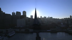 Aerial sunset view Skyscrapers Port of San Francisco USA Stock Footage