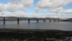 Train crossing Railway bridge Montrose Stock Footage