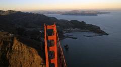 Aerial view Golden Gate Bridge Art Deco designs San Francisco USA - stock footage