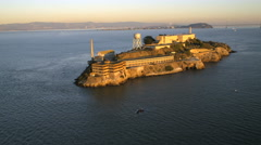 Aerial view The Rock Alcatraz Island San Francisco Bay USA Stock Footage