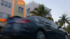 summer sunset miami south beach ocean drive traffic 4k usa - stock footage