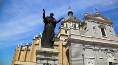 Statue of Pope John Paul II in Madrid, Spain - stock footage