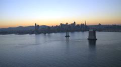 Aerial sunset Oakland Bay Bridge Francisco Bay USA - stock footage