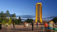 Crowds of peoples in front of the Kazakhstan hotel in Almaty. Stock Footage