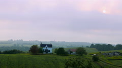Farmland House Summer Dusk 1 Stock Footage