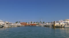 sunny day miami city tourist boar ride privat yacht dock 4k florida usa - stock footage