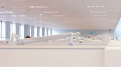 View of multiple dentist cubicles Stock Footage