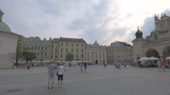 Walking in the Main Square of Krakow Stock Footage