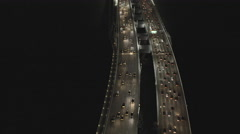 Aerial illuminated New Oakland Bay Bridge San Francisco USA - stock footage
