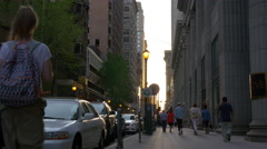 Sunset philadelphia city walking street view 4k pennsylvania usa Stock Footage