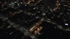 Aerial overhead night rooftop districts San Francisco USA - stock footage