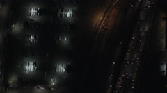 Aerial overhead illuminated night view City Buildings USA - stock footage