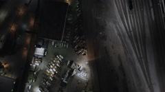 Aerial overhead illuminated night view Rail terminal USA Stock Footage