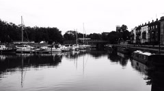 Quiet harbor in black and white Stock Footage