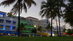 summer sunset miami south beach park view on ocean drive 4k florida usa - stock footage