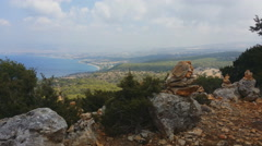 View from the hill in Cyprus. Rock sculptures. Stock Footage