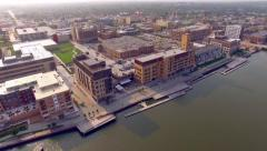 Scenic Green Bay Wisconsin Urban Waterfront Aerial Flyover Stock Footage