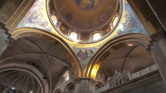 Low-angle time lapse of room in Church of the Holy Sepulchre. Cropped. Stock Footage